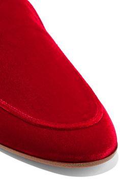 Gianvito Rossi - Velvet Slippers - Red - IT34