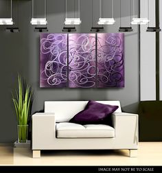 Purple Contemporary Metal Abstract Wall Art / Confused Passion by Jon Allen.