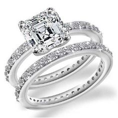 2.00 Carat Exquisite Asscher Cut Diamond Engagement Ring Beautiful!!!