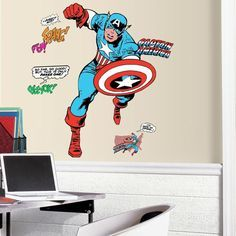 2.5 in. x 27 in. Classic Captain America Comic 23-Piece Peel and Stick Giant Wall Decal, Red