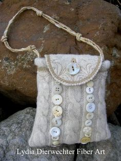 Felted wool and vintage buttons Purses by Lydia Dierwechter