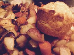 Roasted Smoked sausage, potatoes, onions,carrots and corn muffins