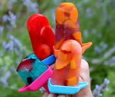 Frozen Jello Fruit Pops POSTED BY MACKICAYLOMA :     These jello fruit popsicles were so easy to make and the kids helped decide which fruit to put in each flavor of jello.  Fun was had by all, especially when it came time to eat.     These Jello fruit pops were a hit with kids and adults, maybe even more so with the adults. The pops were scarfed down, I wish I had a video!    Frozen Jello Fruit Pop Recipe:     1 package of any flavor jello,     1 cup of fruit,     Popsicle molds…