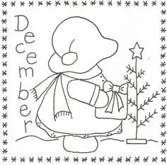 Sunbonnet Sue BOM - December Stitchery Pattern LQC-S12 by Little Quilts - Mary Ellen Von Holt. Make a little calendar quilt, embellish a pillowcase, decorate a shirt or sew a fabric greeting card.