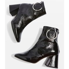 Topshop Mia Ring Boots ($110) ❤ liked on Polyvore featuring shoes, boots, topshop boots, black boots, leather shoes, high heel shoes and high heel boots