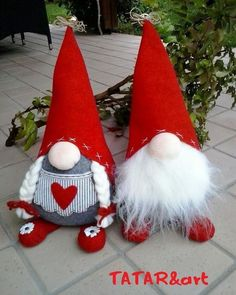 "I wanted to share our collection of Christmas gnomes. They are called Nisse (Norwegian) or Tomte (Swedish). Tomte literally means ""Homestead Man"" so I thought Christmas Sewing, Christmas Gnome, Christmas Projects, Felt Crafts, Holiday Crafts, Xmas Ornaments, Christmas Decorations, Theme Noel, Scandinavian Christmas"