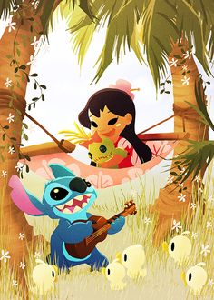 Disney WonderGround Lilo & Stitch Music To My Ears Postcard by Eunjung June Kim 400000327952 Walt Disney, Disney Pixar, Disney E Dreamworks, Disney Magic, Disney Movies, Disney Characters, Disney Stuff, Draw Disney, Cute Disney