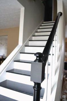 Black And White Stairs, Black Railing, White Staircase, Staircase Design, Staircase Ideas, Black Wood, Railing Ideas, Black Painted Stairs, Staircase Pictures