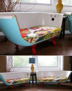 upcycling ideen badewanne halbieren sofa sitzpolster wohnzimmer moebel