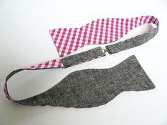 Bow Tie for Men by BartekDesign: self tie double sided gray linen pink white wedding grooms informal formal necktie