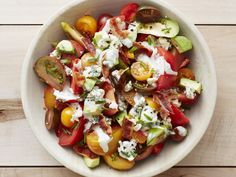 Avocado-Tomato Salad with Bacon and Blue Cheese recipe from Food Network Kitchen via Food Network