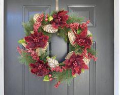 SALE, Burgundy Christmas Wreath, Burgundy Holiday Wreath, Luxurious Wreath, Poinsettia Wreath, Christmas Door Wreath, Christmas Decor