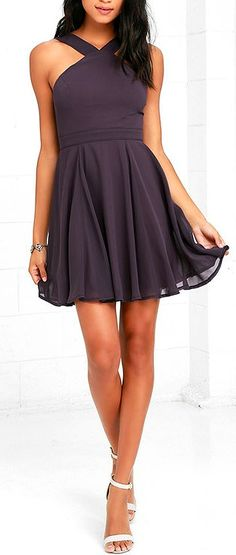 Lulus Exclusive! Our hearts will belong to the Forevermore Dusty Purple Skater Dress 'til the end of time! Semi-sheer shoulder straps form a modified halter neckline atop a fitted bodice with princess seams. A flirty skater skirt, composed of lightweight Georgette, flares below a banded waist. #lovelulus