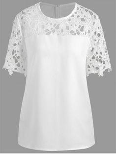 Plus Size Cutout Lace Panel Blouse Plus Size Blouses, Plus Size Tops, Looks Plus Size, Blouse Patterns, Blouse Styles, Lace Tops, Designer Dresses, Fashion Dresses, Formal Dresses
