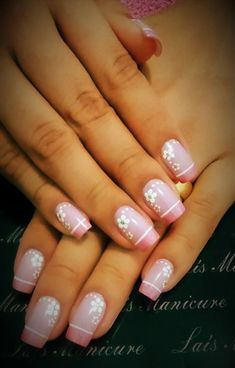 New Nails French Flower Simple 21 Ideas Shellac Nails, Manicure And Pedicure, My Nails, Stylish Nails, Trendy Nails, Fancy Nails, Cute Nails, Nail Designs Spring, Nail Art Designs