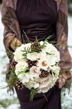 winter wedding bouquet ideas with pine cones.would need some purple but I like the idea of a bouquet that uses things actually found in CO. Vintage Winter Weddings, Woodsy Wedding, Winter Wedding Flowers, Wedding Colors, Dream Wedding, Fall Wedding, Winter Themed Wedding, Wedding Unique, Wedding Shawl