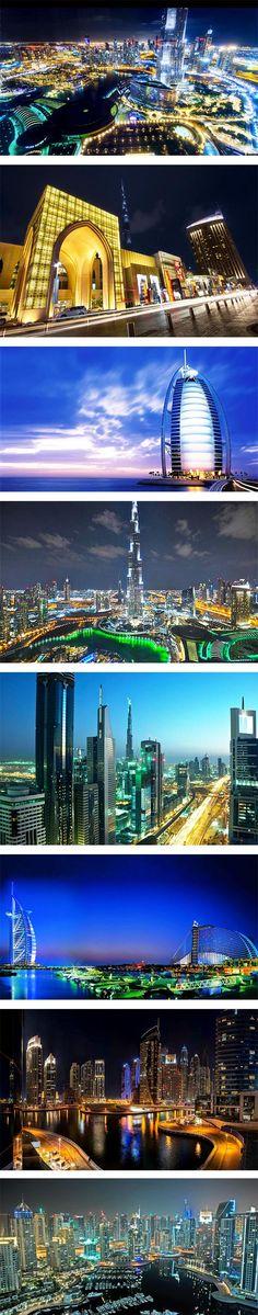 #Dubai, uma das cidades mais# ricasdomundo, encanta seus #turístas com suas incríveis luzes ao cair da noite.. #viagens #destinosturísticos #turismo