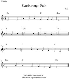 Free Sheet Music Scores: Scarborough Fair, free violin sheet music notes