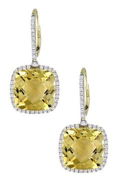 14K Yellow Gold Cushion Citrine & Diamond Halo Drop Earrings