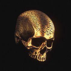 † Memento Mori II † on Behance Black And Gold Aesthetic, Yogi Tattoo, Crane, Skull Reference, Skull Artwork, Skull Wallpaper, Skulls And Roses, Aesthetic Colors, Arte Horror