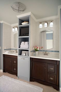 Master bath remodel could use the storage for towels at end of vanity in main bath Trendy Bathroom, Bathroom Makeover, Master Bath Vanity, Bathroom, Bathrooms Remodel, Bathroom Decor, Bathroom Vanity Remodel, Bathroom Redo, Bathroom Inspiration