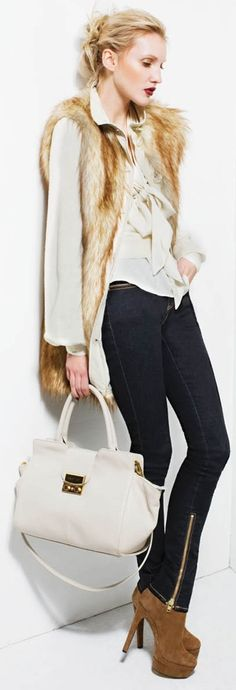 Rachel Zoe...Fur Vest, Feminine Blouse and Skinny Jeans