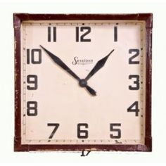 original c. 1940's vintage wall-mount art deco style analog office clock with baked brown enameled pressed steel frame. #vintageclock #antiqueclock