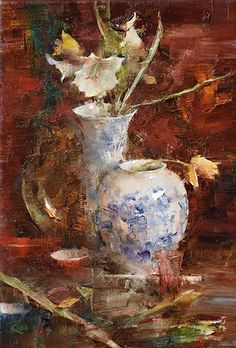 Amaryllis and Yellow Tulips by Laura Robb Oil ~ 16 x 11