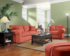 This living space is a complementary color scheme because the red couches and green walls are opposite colors on the color wheel but they look great together.