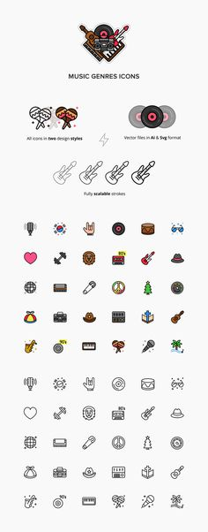 In need of free icons for your music-related projects? Then check out this set of Music Genres Free Icons. This set includes 30 music icons alluding to different musical genres crafted in two beautiful styles: Color & Outline. The package contains vector files in AI, SVG, and PNG formats. Be sure to check out the full set and add to your freebie collection just a click!