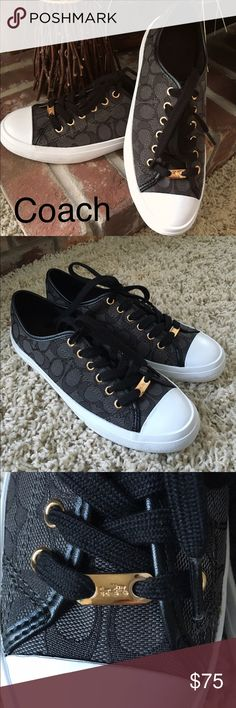 Coach sneakers Coach low top logo sneakers. Signature C Outline fabric with naps leather trim. Rubber sole. Accented with custom gold hardware and leather trim. Brand new. Coach Shoes Sneakers