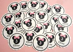 Personalized Name & Age Light Pink Bow Minnie Confetti Birthday Party Decoration Tag Favor Mouse Cupcake Toppers. $1.95, via Etsy.