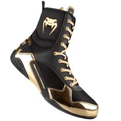 Venum Elite Boxing Shoes - Black/GoldAfter two years of research and development, VENUM is proud to present our first professional boxing shoe. The Elite boxing shoes are the result of strategic research, development and collaboration betwe. Boxing Boots, Boxing Gloves, Boxing Boxing, Martial, Professional Boxing, Boxing Champions, Wrestling Shoes, Boxing Training, Gold Shoes