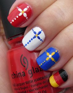It Nail Art that looks like it came from the comic Scandinavia and the World!!!