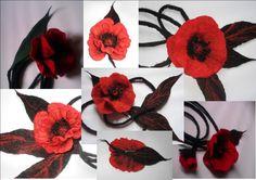 Belt Red poppy  / brooch / felted / waistband / flower / red / poppy