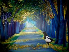 Artwork >> Sancelme Marie-Noelle >> The Magpie  #artworks, #nature, #paining, #masterpiece, #trees