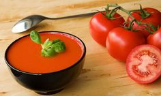 Gazpacho - National dish of Spain. Cold tomato soup with cucumber, olive oil and other spices. Tomato Soup Recipes, Seafood Recipes, Vegetarian Recipes, Cooking Recipes, Healthy Recipes, Soups And Stews, Casserole Recipes, Food Network Recipes, Gastronomia
