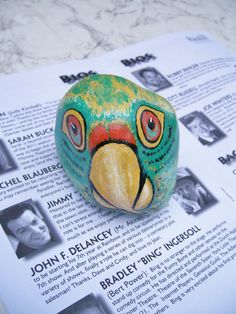 Parrot+Head+Painted+Stone+Rock+Art+by+2birdstudio+on+Etsy,+$15.00