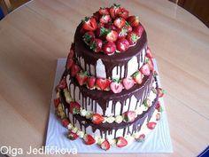 DOMÁCÍ DORTY A CUKROVÍ Z KRÁLOVEHRADECKA - Fotoalbum - Svatební dorty - dort svatební třípatrový -čokoláda a čerstvé jahody