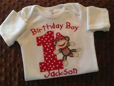 Birthday Boy Sock Monkey First Birthday Onesie by Bethysboutique, $20.00