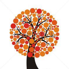 simple stylized orange tree on white