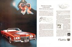 1971 Cadillac Fleetwood Eldorado Convertible vintage ad. Equipped with an 8.2 litre V8, the largest production passenger car engine available.