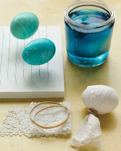 "Lace-dyed Easter eggs; incidentally, the pinboard works nicely for drying eggs without causing ""bald"" spots."