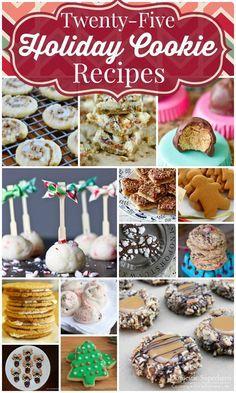 Twenty Five Holiday Cookie Recipes - I love Christmas Cookies! Holiday Cookie Recipes, Cookie Desserts, Cupcake Cookies, Dessert Recipes, Roll Cookies, Brownie Cookies, Christmas Recipes, Cupcakes, Christmas Cookie Exchange