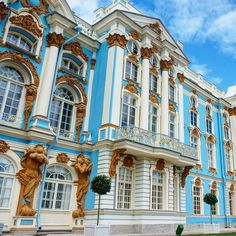 The spectacular Catherine Palace located in Pushkin south of St. Petersburg. It was the summer residence of the Russian Tsars