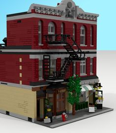 When you work in a Modular City, it is important to have a legitimate business to earn your keep. A Rare Book store and Italian Restaurant can be seen with this front (or busi. Legos, Lego Lego, Lego Batman, Pirate Lego, Lego Boards, Lego Craft, Lego Table, Lego Modular, Lego Storage