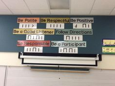 """What a smart idea and a great way to introduce rules.I have used this same concept in the past to teach students my name. I write it on the board in """"musical code"""" (aka stick notation) and then we work to decode it together. Classroom Expectations, Classroom Rules, Classroom Decor, Future Classroom, General Music Classroom, Music Lesson Plans, Music Lessons, Music Class Rules, Primary Lessons"""
