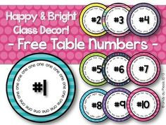 Table Numbers1 - 10 You might like the following (click to view):Name labels {Bright & Happy}Calendar Classroom Decor (Happy and Bright)Have fun teaching!Lindy du PlessisTermsCopyright  L du Plessis 2015. Single classroom license only. Please do not share or place on the internet.