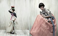 Vogue Korea editorial from October 2007, featuring models in traditional Korean hanboks.