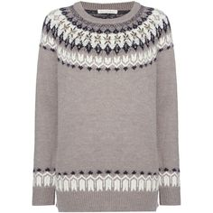 Maison De Nimes Nordic Fairisle Christmas Jumper (€46) ❤ liked on Polyvore featuring tops, sweaters, grey, women, gray top, grey jumper, fairisle jumper, chunky knit sweater and embellished sweaters